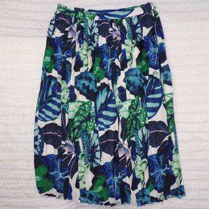 NWOT ModCloth Tropical Print Pleated Skirt, Sz L